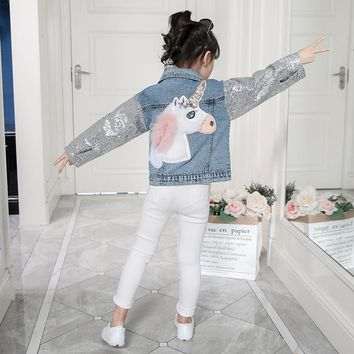 Sequin Sleeve Unicorn Applique Jean Jacket