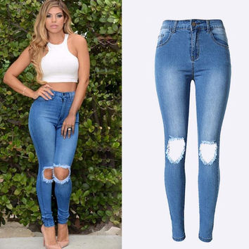 Elastic High Waist Plus Size Holes Slim Jeans