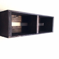 SALE Small Wooden Crate Hanging Split Shelf Wall Fixture- Shelves for Spice Rack, Bathroom, Decor, Kitchen, Bedroom