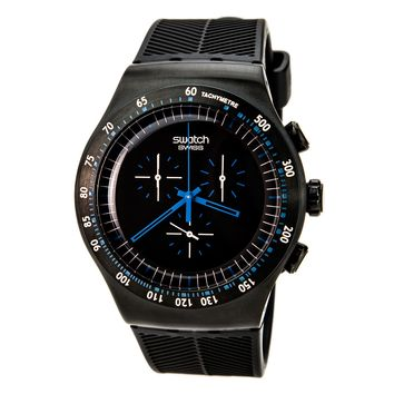 Swatch YOB103 Men's Irony Blue In Dark Black IP Steel Rubber Strap Chronograph Watch