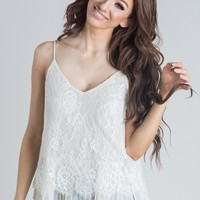 Eliza Cream Lace Pleated Cami