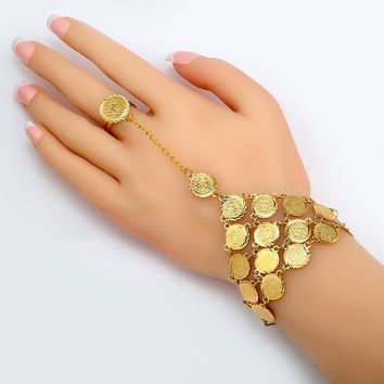 Coin Bracelet for Women Islam Muslim Arab Coins Money Sign Women 18k Gold Plated Middle Eastern Jewelry Bangle Metal Coin B017