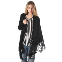 Cable knit cardigan with tassel fringing