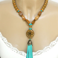 Turquoise and Brown Boho Necklace Beaded Tassel Long Handmade