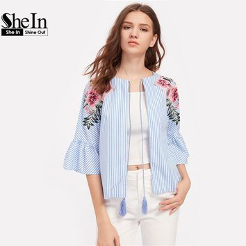 SheIn Embroidered Flower Patch Fluted Sleeve Tassel Tie Blouse Three Quarter Length Sleeve Tie Neck Striped Blouse