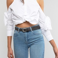 Pieces Leather Rounded Buckle Belt at asos.com
