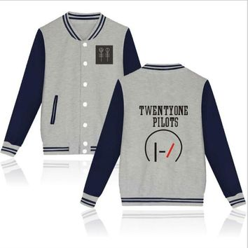Hip Hop Fashion Brand Clothing Twenty One Pilots zip-up hoodie sweatshirt Men & Women Casual Slim bomber pilot Baseball jacket