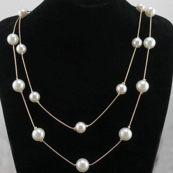 N826 Double Layer Simulated Pearls Necklaces Fashion Jewelry Long Chain Charm Necklace For Women