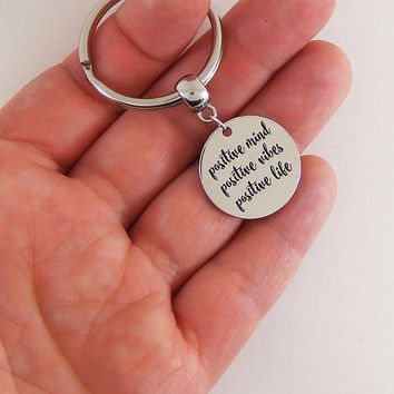 Positive mind positive vibes positive life keychain, positive key chain, positive quotes, positivity, vibes keychain, stay positive gifts