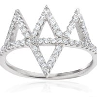 Ladies 925 Sterling Silver Iced Out 'Crown' Finger Ring