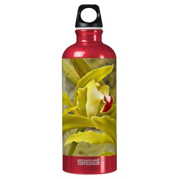 Green Cymbidium Orchids Floral Water Bottle