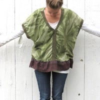 Funky Upcycled Shirt , womens size Large XL square top , green mossy boho tunic blouse refashioned recycled clothing by wearlovenow
