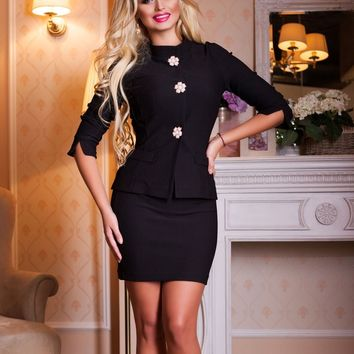 UGHI Comfortable Two Piece Black Women's Business Skirt Suit with White Flower Buttons
