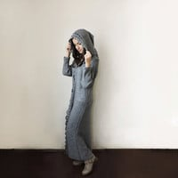 FREE SHIPPING Hooded cardigan Duster coat Extra long sweater Wool overcoat Long sleeve cardigan Crochet hem Light gray Wool knit cardigan