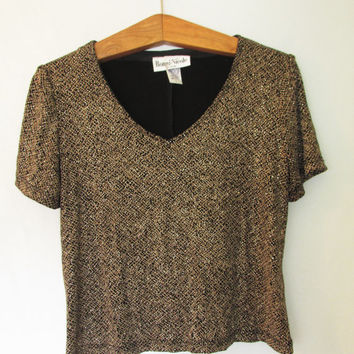 Vintage 1980's Gold Sparkly Evening Top