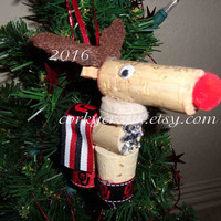 wine cork reindeer or horse Oklahoma Boomer Sooner ornament/bottle tag/new student/ alumni gift