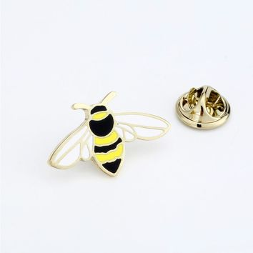 Trendy Cartoon Animals Brooches Little Bee Enamel Pin for Boys Lapel Pin Hat/bag Pins Denim Jacket Shirt Women Brooch Badge Q488 AT_94_13