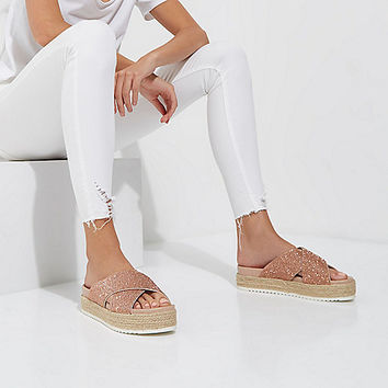Gold embellished espadrille flatform sandals - Sandals - Shoes & Boots - women