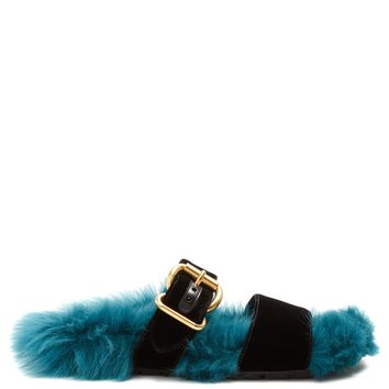 Shearling-lined velvet slides | Prada | MATCHESFASHION.COM UK