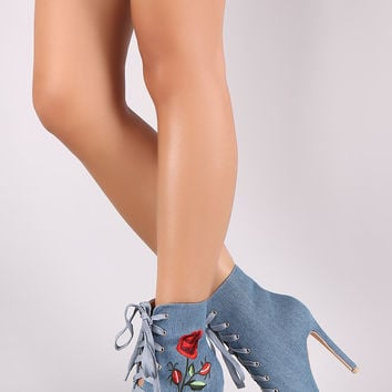Embroidered Rosette Stiletto Ankle Boots | UrbanOG