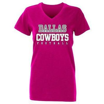 Dallas Cowboys Ladies Practice Glitter Womens V-Neck T-Shirt Pink