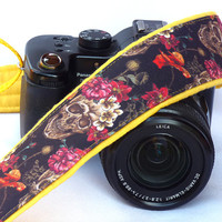 Sugar Skulls Camera Strap, Dia de los Muertos, Day of the Dead, dSLR Camera Strap, SLR, Nikon, Canon Camera Strap, Camera Accessories
