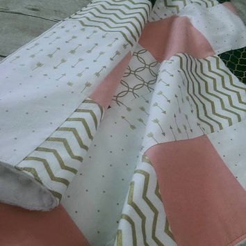 Small baby girl minky blanket -  arrows chevron blanket - coral, gold & black baby girl patchwork blanket - travel blanket 27in. x 32in.