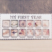 Fashion Baby's First Year Picture Frame Decorative Infant's 1-12 Months Photo Frame For Baby Birthday Party Decor