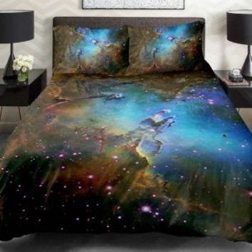 Anlye Galaxy Quilt Cover 3d Printing Galaxy Duvet Cover Galaxy Never Fade Sheets Space Sheets Outer Space Bedding Set with 2 Matching Pillow Covers (QUEEN)