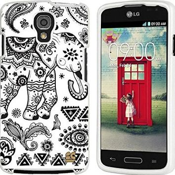 LG Volt LS740 (Sprint,Boost Mobile,Virgin Mobile)Beyond Cell ®Slim Protex Design 2 Piece Snap On Hard Rubberized Feel Non-Slip Matte Protective Phone Case - White Tribal Elephant Design - Retail Packaging
