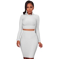 Chicloth White Silver Shimmer Two Piece Dress