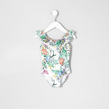 Mini girls white frill floral swimsuit