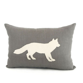 "Leather ""Fox"" Linen Pillow Cover  - Grey / Ivory"