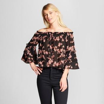 Women's Floral Print 3/4 Sleeve Off the Shoulder Top - Xhilaration™ Black