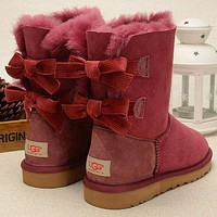 UGG Winter Classic Fashion Women Retro Fur Bow Wool Snow Boots Half Boots Shoes Red