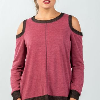 Ladies fashion cold shoulder hi-low colorblock sweatshirt