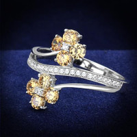 Dainty Champagne Cubic Zirconia Flowers Ring