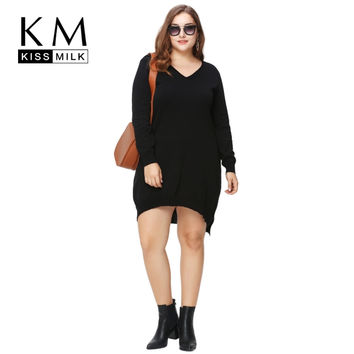 Kissmilk Plus Size New Fashion Women Clothing Basic Solid Streetwear Pullovers Loose Slim Big Size Sweater 3XL 4XL 5XL 6XL