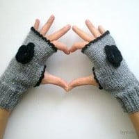 Slate GrayBlack Fingerless Gloves Mitten Hand knit by bysweetmom