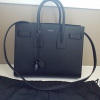 New $2990 Saint Laurent YSL Black Sac De Jour Small Carryall Leather Bag