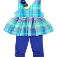 Sophie Catalou Royal Blue Plaid Babydoll Top & Shorts - Infant | zulily