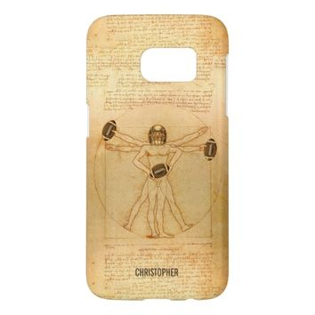 Leonardo Vitruvian Man As American Football Player Samsung Galaxy S7 Case