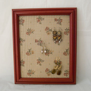Rustic Shabby Chic Red Frame with Floral Earring Holder made from picture frame
