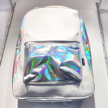 Holographic White Leather Backpack Silver Hologram Rucksack School Travel Bag