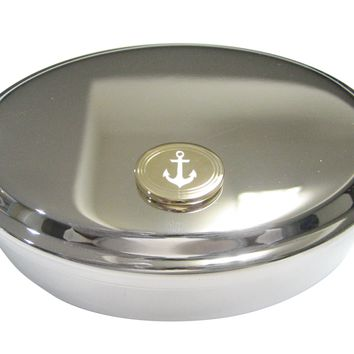 Gold Toned Etched Oval Nautical Anchor Oval Trinket Jewelry Box