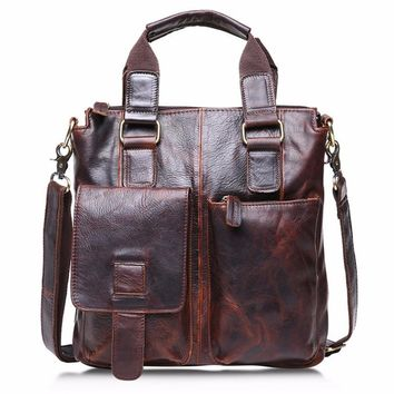 Man Handbag Genuine Leather Vintage Buffalo Messenger Bags Satchel Laptop Briefcase Men's Bag #XTJ