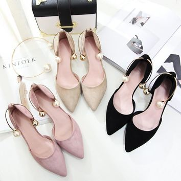 Office lady shoes 2017 summer new fashion women sandals pointed toe real leather with pearls cat thin high heels big plus size43