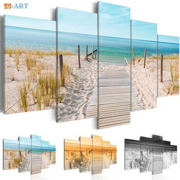 Sea Beach Landscape Painting Canvas 5 Pieces Grass Poster Nature Wall Art Modular Pictures for Living Room Home Decor