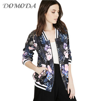 DOMODA Tropical Print Women Jacket Coat Pockets Zipper Ribbed Bomber Jacket Autumn Casual Loose Female Basic Jacket