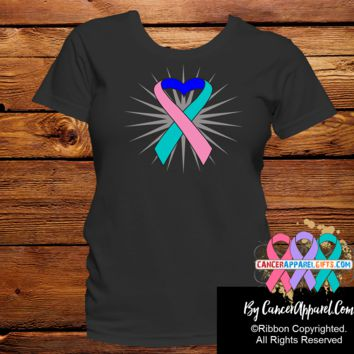 Thyroid Cancer Awareness Heart Ribbon Shirts